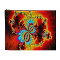 Crazy Mandelbrot Fractal Red Yellow Turquoise Cosmetic Bag (XL)