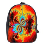 Crazy Mandelbrot Fractal Red Yellow Turquoise School Bags(Large)  Front