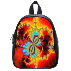 Crazy Mandelbrot Fractal Red Yellow Turquoise School Bags (small)