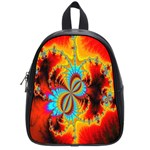 Crazy Mandelbrot Fractal Red Yellow Turquoise School Bags (Small)  Front
