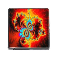 Crazy Mandelbrot Fractal Red Yellow Turquoise Memory Card Reader (Square)