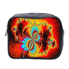 Crazy Mandelbrot Fractal Red Yellow Turquoise Mini Toiletries Bag 2 Side