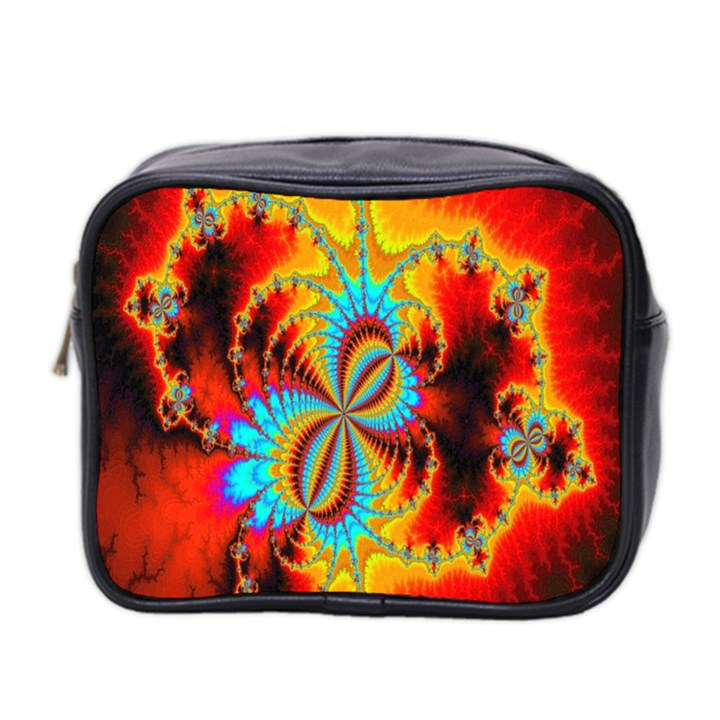 Crazy Mandelbrot Fractal Red Yellow Turquoise Mini Toiletries Bag 2-Side