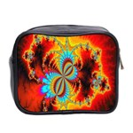Crazy Mandelbrot Fractal Red Yellow Turquoise Mini Toiletries Bag 2-Side Back