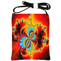 Crazy Mandelbrot Fractal Red Yellow Turquoise Shoulder Sling Bags