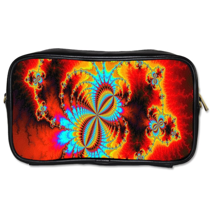 Crazy Mandelbrot Fractal Red Yellow Turquoise Toiletries Bags 2-Side