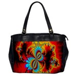 Crazy Mandelbrot Fractal Red Yellow Turquoise Office Handbags Front