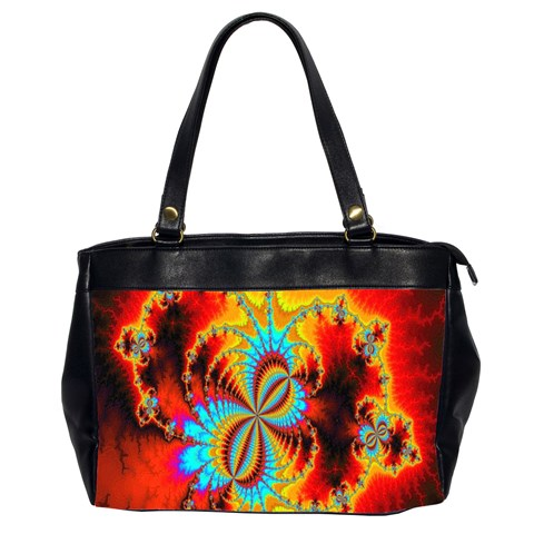 Crazy Mandelbrot Fractal Red Yellow Turquoise Office Handbags (2 Sides)