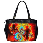 Crazy Mandelbrot Fractal Red Yellow Turquoise Office Handbags (2 Sides)  Back