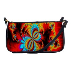 Crazy Mandelbrot Fractal Red Yellow Turquoise Shoulder Clutch Bags
