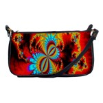 Crazy Mandelbrot Fractal Red Yellow Turquoise Shoulder Clutch Bags Front