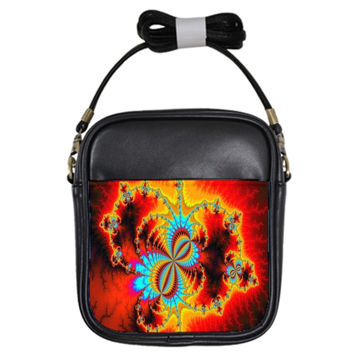 Crazy Mandelbrot Fractal Red Yellow Turquoise Girls Sling Bags