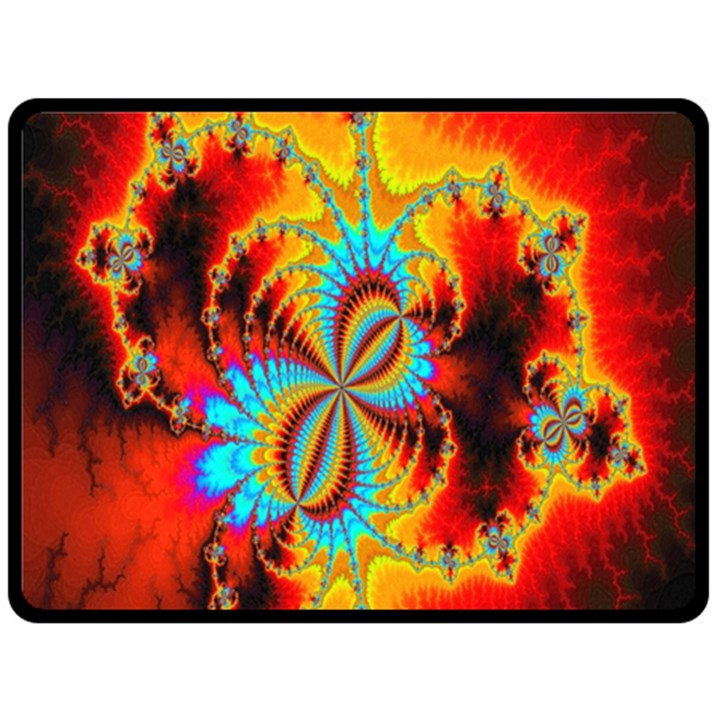 Crazy Mandelbrot Fractal Red Yellow Turquoise Fleece Blanket (Large)