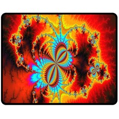 Crazy Mandelbrot Fractal Red Yellow Turquoise Fleece Blanket (Medium)