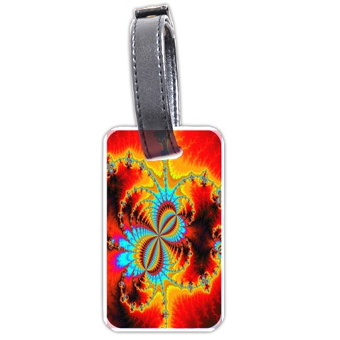 Crazy Mandelbrot Fractal Red Yellow Turquoise Luggage Tags (Two Sides)