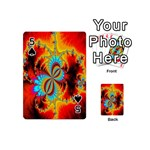 Crazy Mandelbrot Fractal Red Yellow Turquoise Playing Cards 54 (Mini)  Front - Spade5