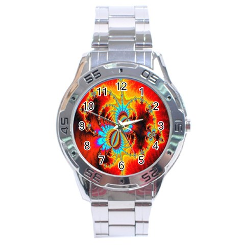 Crazy Mandelbrot Fractal Red Yellow Turquoise Stainless Steel Analogue Watch