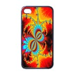 Crazy Mandelbrot Fractal Red Yellow Turquoise Apple iPhone 4 Case (Black) Front