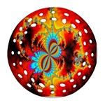 Crazy Mandelbrot Fractal Red Yellow Turquoise Round Filigree Ornament (2Side) Back
