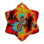 Crazy Mandelbrot Fractal Red Yellow Turquoise Snowflake Ornament (2-Side) Back