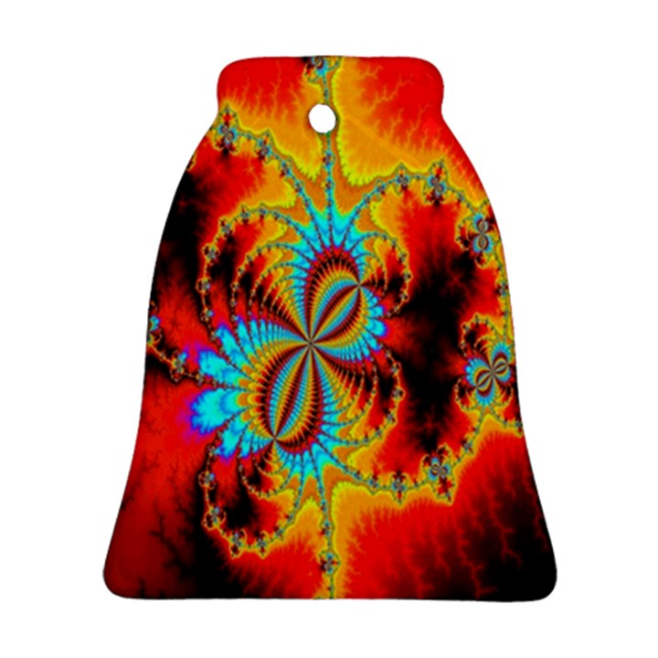 Crazy Mandelbrot Fractal Red Yellow Turquoise Bell Ornament (2 Sides)