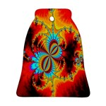 Crazy Mandelbrot Fractal Red Yellow Turquoise Bell Ornament (2 Sides) Back