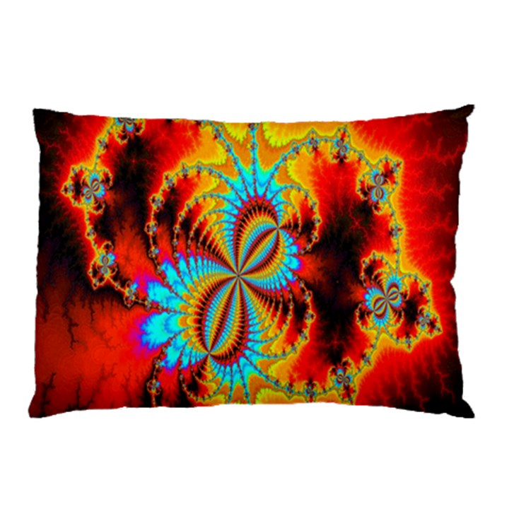 Crazy Mandelbrot Fractal Red Yellow Turquoise Pillow Case (Two Sides)
