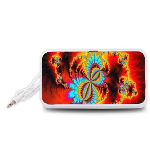 Crazy Mandelbrot Fractal Red Yellow Turquoise Portable Speaker (White)