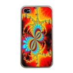 Crazy Mandelbrot Fractal Red Yellow Turquoise Apple iPhone 4 Case (Clear) Front