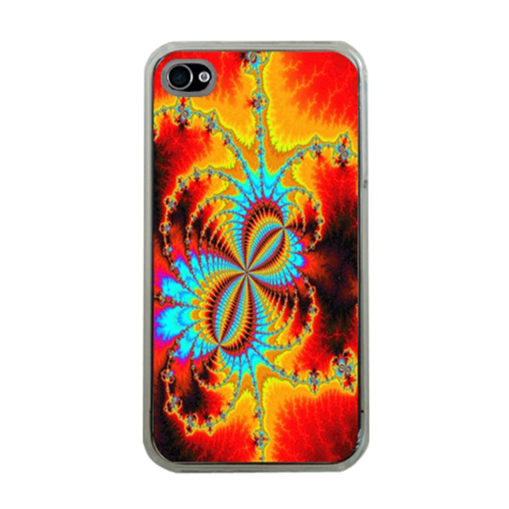 Crazy Mandelbrot Fractal Red Yellow Turquoise Apple iPhone 4 Case (Clear)