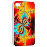 Crazy Mandelbrot Fractal Red Yellow Turquoise Apple iPhone 4/4s Seamless Case (White) Front