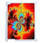 Crazy Mandelbrot Fractal Red Yellow Turquoise Apple iPad 2 Case (White) Front