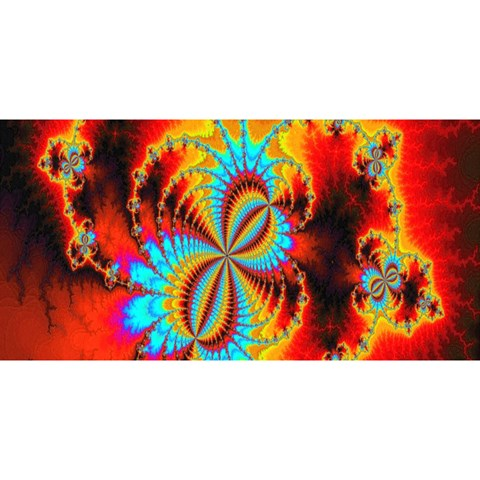 Crazy Mandelbrot Fractal Red Yellow Turquoise YOU ARE INVITED 3D Greeting Card (8x4)