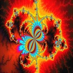 Crazy Mandelbrot Fractal Red Yellow Turquoise YOU ARE INVITED 3D Greeting Card (8x4) Inside