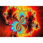 Crazy Mandelbrot Fractal Red Yellow Turquoise Circle Bottom 3D Greeting Card (7x5) Back