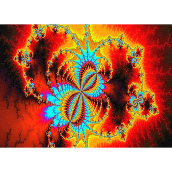 Crazy Mandelbrot Fractal Red Yellow Turquoise Birthday Cake 3D Greeting Card (7x5)