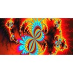 Crazy Mandelbrot Fractal Red Yellow Turquoise Happy New Year 3D Greeting Card (8x4) Front