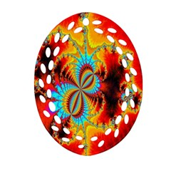Crazy Mandelbrot Fractal Red Yellow Turquoise Oval Filigree Ornament (2-Side)