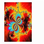 Crazy Mandelbrot Fractal Red Yellow Turquoise Small Garden Flag (Two Sides) Front