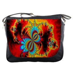 Crazy Mandelbrot Fractal Red Yellow Turquoise Messenger Bags