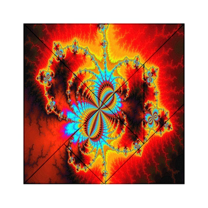 Crazy Mandelbrot Fractal Red Yellow Turquoise Acrylic Tangram Puzzle (6  x 6 )