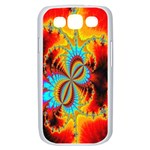 Crazy Mandelbrot Fractal Red Yellow Turquoise Samsung Galaxy S III Case (White) Front