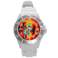 Crazy Mandelbrot Fractal Red Yellow Turquoise Round Plastic Sport Watch (L)