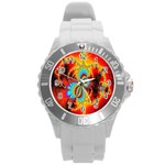 Crazy Mandelbrot Fractal Red Yellow Turquoise Round Plastic Sport Watch (L) Front