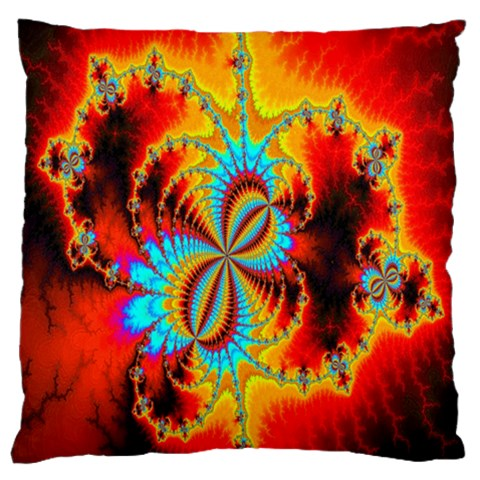 Crazy Mandelbrot Fractal Red Yellow Turquoise Large Cushion Case (One Side)
