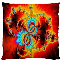Crazy Mandelbrot Fractal Red Yellow Turquoise Large Cushion Case (two Sides)