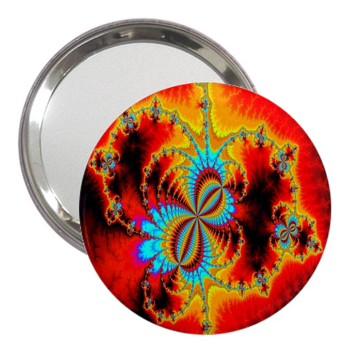 Crazy Mandelbrot Fractal Red Yellow Turquoise 3  Handbag Mirrors