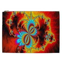 Crazy Mandelbrot Fractal Red Yellow Turquoise Cosmetic Bag (XXL)