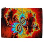 Crazy Mandelbrot Fractal Red Yellow Turquoise Cosmetic Bag (XXL)  Front