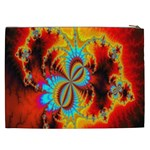 Crazy Mandelbrot Fractal Red Yellow Turquoise Cosmetic Bag (XXL)  Back